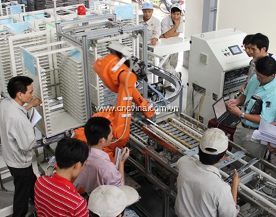 day chuyen lap rap tu dong may in voi robot-automated assembly line